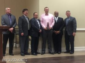 Lt. Nick Schwarz receives the Erik P. Steciak EMS Member of the Year Award.